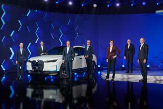 BMW Group Annual Conference at BMW Welt in Munich on 17th March 2021. The Board of Management of BMW AG, l-r: Dr Nicolas Peter, Finance; Dr Milan Nedeljković, Production; Oliver Zipse, Chairman; Frank Weber Development; Ilka Horstmeier, Human Resources; Dr Andreas Wendt, Purchasing and Supplier Network, and Pieter Nota, Customer, Brands, Sales (03/2021).