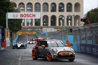 New FIA Formula E Safety Car from BMW Group made its debut at Rome E-Prix: the MINI Electric Pacesetter inspired by JCW.