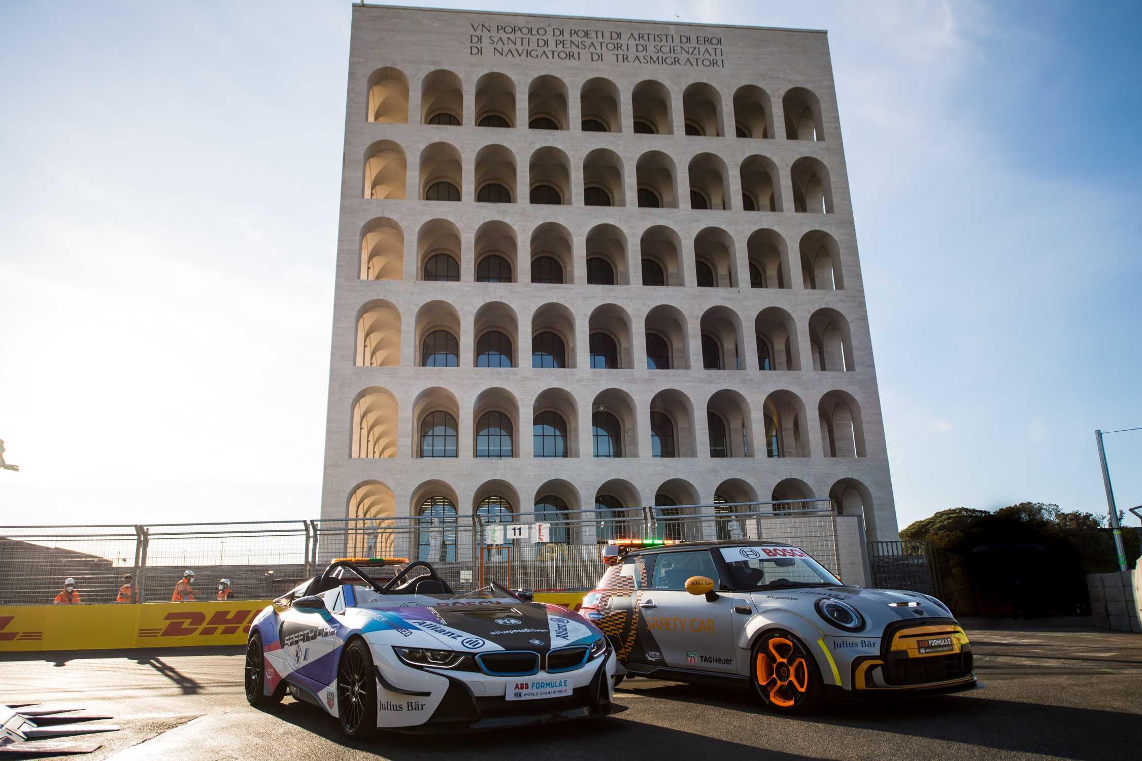 Rome (ITA), 8th April - 11th April 2021. ABB FIA Formula E World Championship, Season 7, Rome E-Prix, MINI Electric Pacesetter inspired by JCW, Safety Car, BMW i8 Roadster Safety Car.