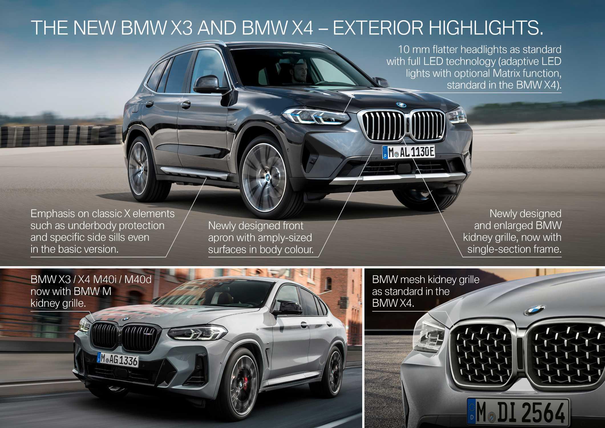 "The new BMW X3 xDrive30e, Sophisto Grey metallic, Rim 21"" Styling 726 and the new BMW X4 M40i, Brooklyn Grey metallic, Rim 21"" Styling 718M (06/2021)."