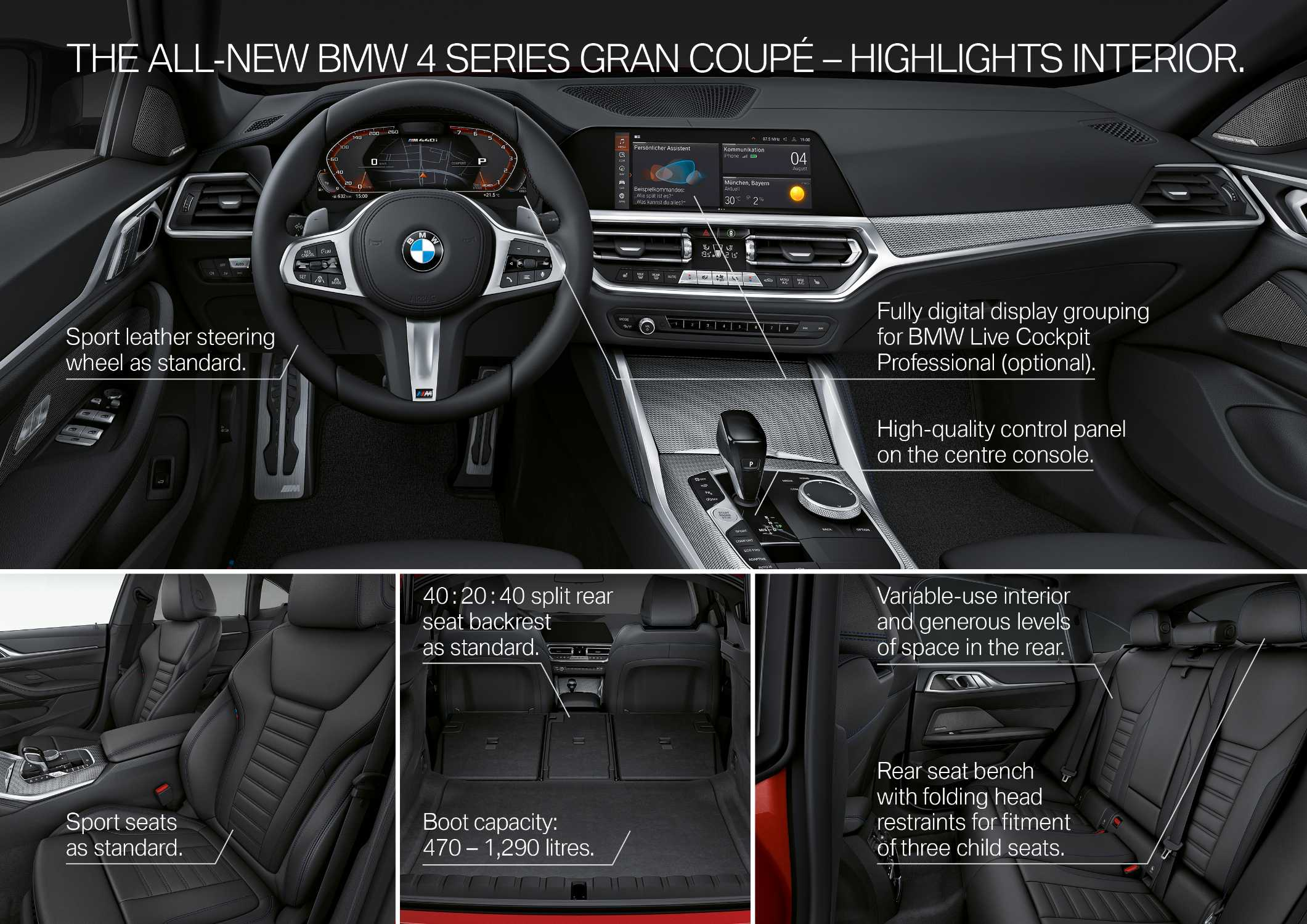 """The all-new BMW M440i xDrive Gran Coupé, Aventurine Red (Individual), Rim 19"""" Styling 861M (06/2021)."""