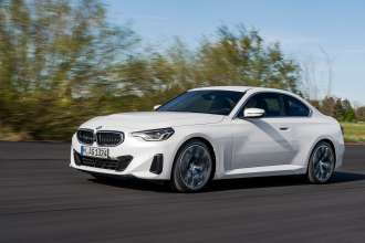 """The all-new BMW 220i Coupé, Mineral White Metallic, 19"""" Wheel Styling 783 Bicolor (07/2021)."""