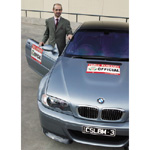 John Kananghinis, General Manager Marketing & Communications, with the BMW M3 CSL. BMW will be the official car supplier for Targa Tasmania (12/2003)
