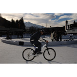 Seefeld, Austria, 6th December 2003. Marc Gene BMW WilliamsF1 Team test driver 2003 rides a bicycle on ice (01/2004)