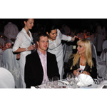 6th December 2003. Seefeld Austria, BMW Motorsports Party. Ralf Schumacher BMW WilliamsF1 Team driver 2003 with his wife Cora (01/2004)