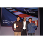 6th December 2003. Seefeld Austria, BMW Motorsports Party. Dr. Mario Theissen (BMW Motorsport Director) with BMW Prize winners Ho-Pin Tung and Kyoug-Ouk You (01/2004)
