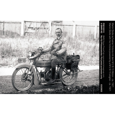 Martin Stolle with his Victoria powered by a M 2 B 15 engine - ca. 1921 (04/2003)
