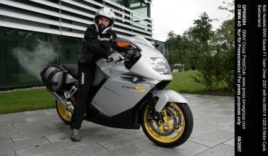 Nick Heidfeld BMW Sauber F1 Team Driver 2007 with his BMW K 1200 S Motor Cycle. Switzerland.