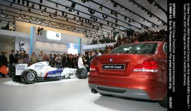 Dr Mario Theissen (BMW Motorsport Director) with Nick Heidfeld BMW Sauber F1 Team Driver 2007 on Stage at the IAA in Frankfurt Germany.