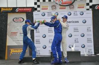 Sept. 27, 2008, Round 13 podium celebrations, left to right, Giancarlo Vilarinho, Alexander Rossi, and Gianmarco Raimondo. New Jersey Motorsports Park, Thunderbolt Raceway.