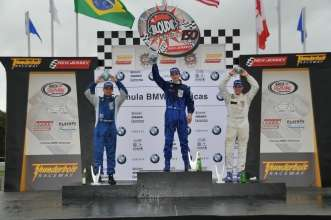 Sept. 27, 2008, Round 13 podium, left to right, Giancarlo Vilarinho, Alexander Rossi, and Gianmarco Raimondo. New Jersey Motorsports Park, Thunderbolt Raceway.